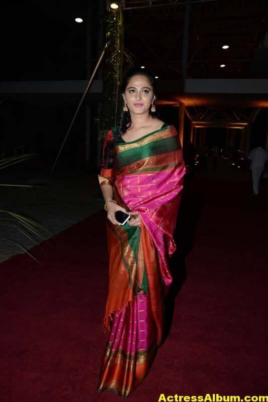 Anushka Shetty Images In Red Saree At At PVP Function 2