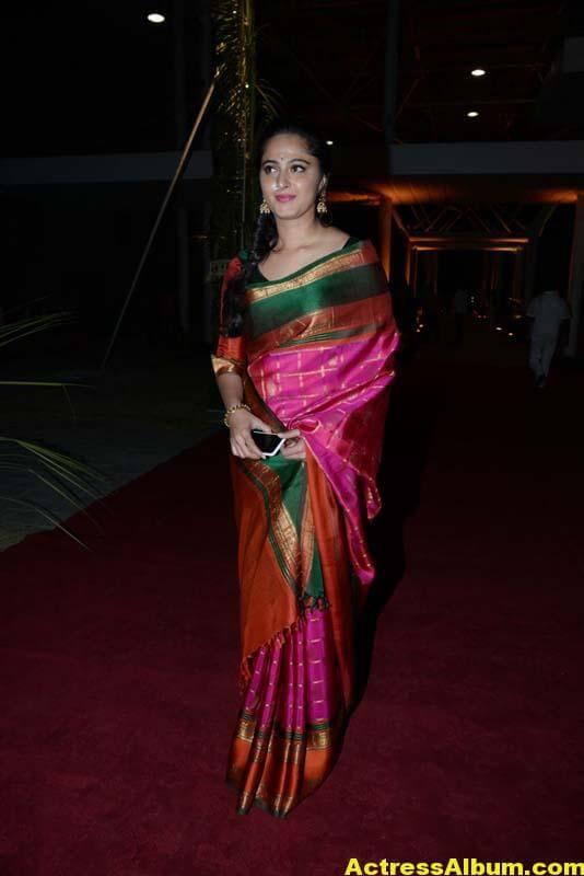 Anushka Shetty Images In Red Saree At At PVP Function 3