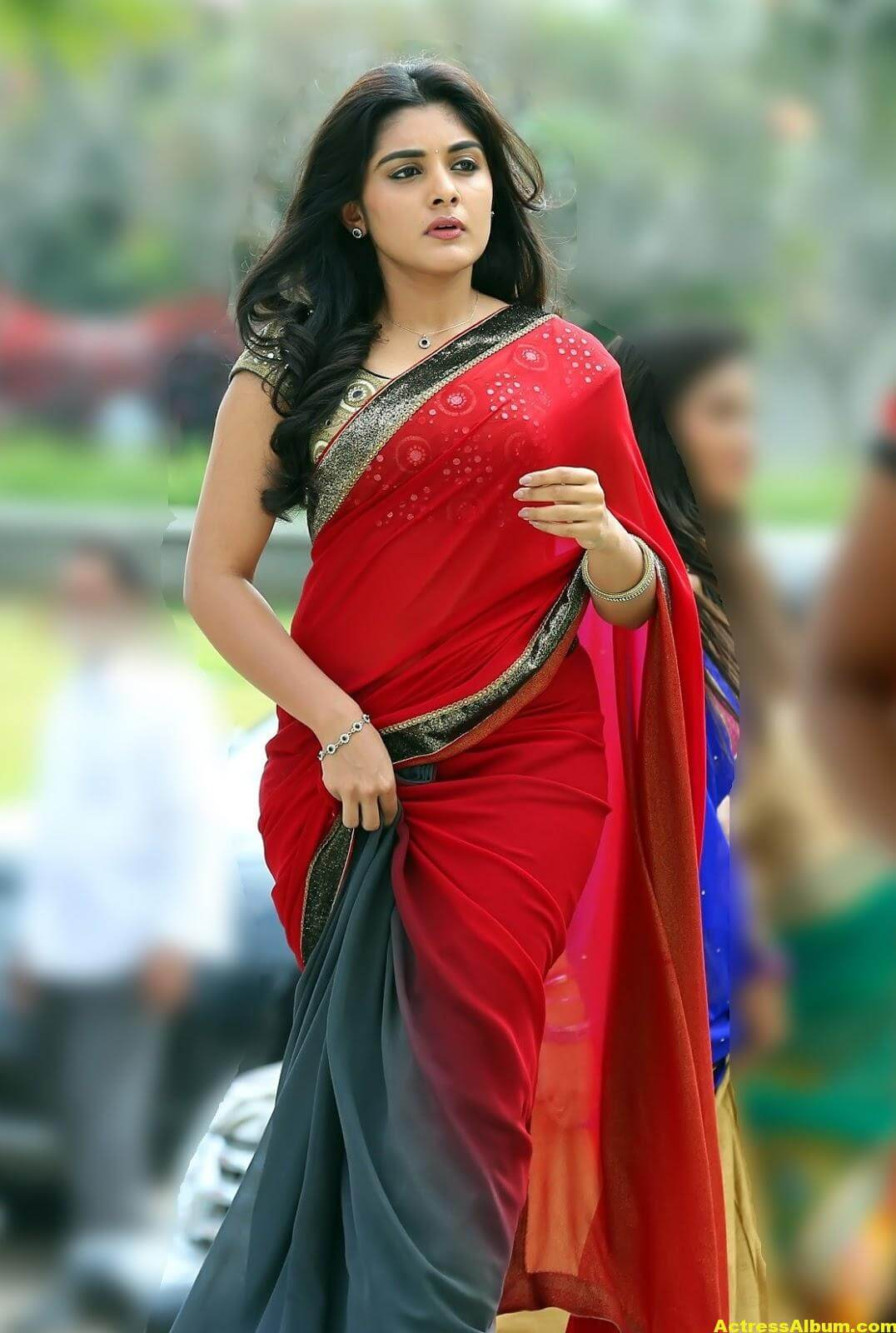 Niveda Thomas Photos In Red Saree - Actress Album