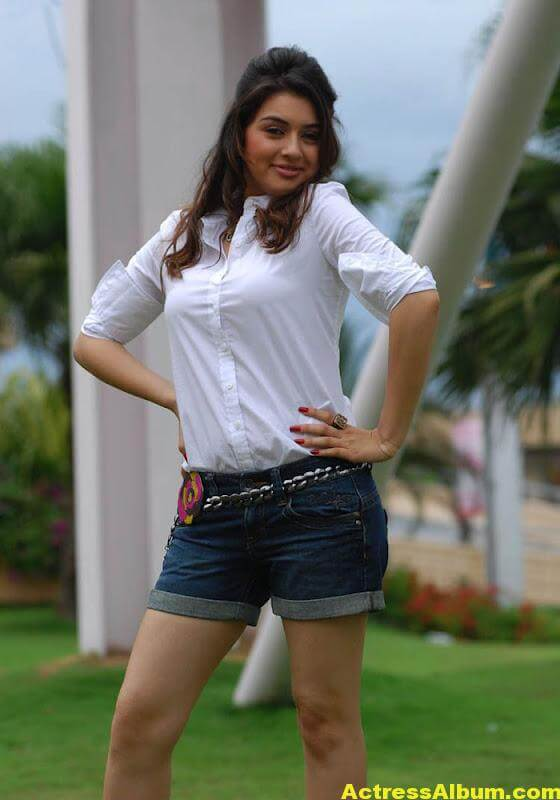 Hansika Legs Show Hot Images In White Dress 6