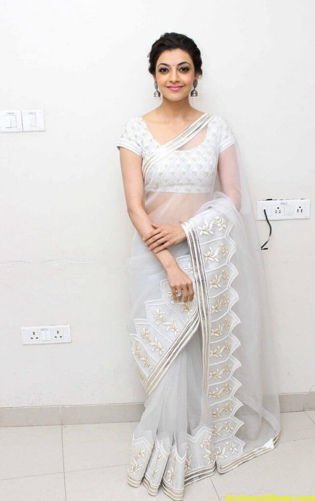 Kajal Agarwal Hot Photos In White Saree 1
