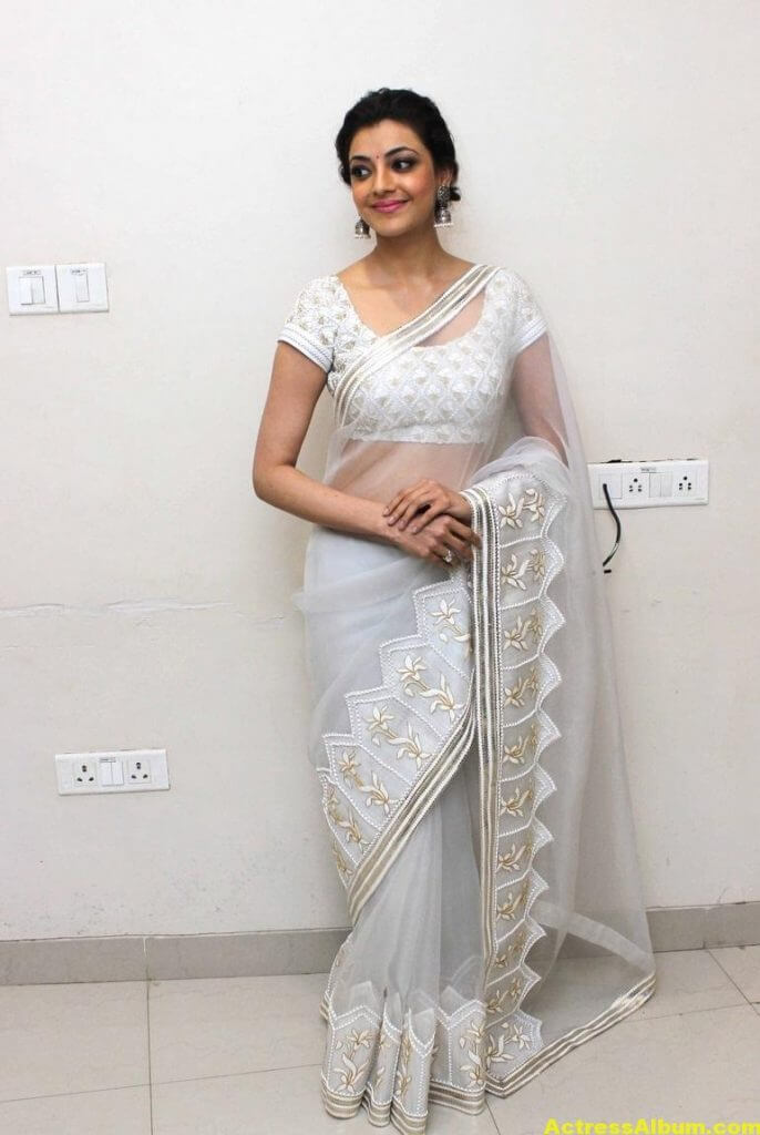 Kajal Agarwal Hot Photos In White Saree 2