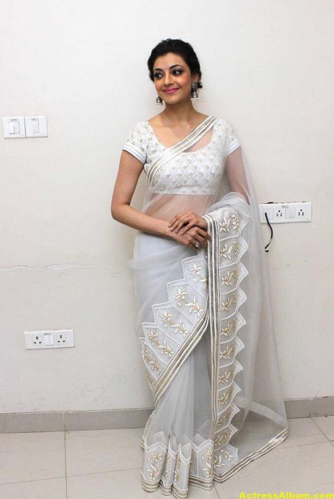 Kajal Agarwal Hot Photos In White Saree 2
