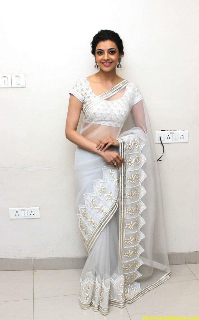Kajal Agarwal Hot Photos In White Saree 3