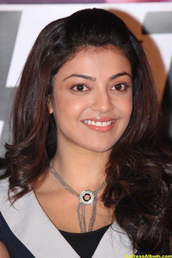 Kajal Aggarwal Smiling Face Photos In Blue Dress 1