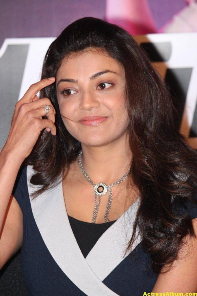 Kajal Aggarwal Smiling Face Photos In Blue Dress 2