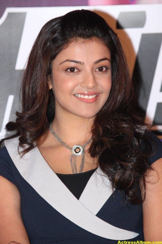 Kajal Aggarwal Smiling Face Photos In Blue Dress 4