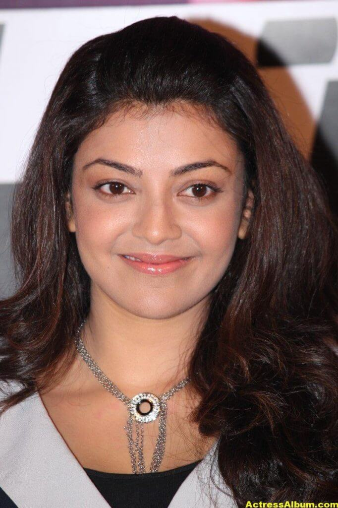Kajal Aggarwal Smiling Face Photos In Blue Dress 5