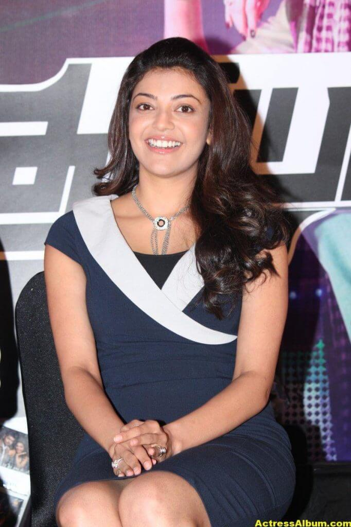 Kajal Aggarwal Smiling Face Photos In Blue Dress 6