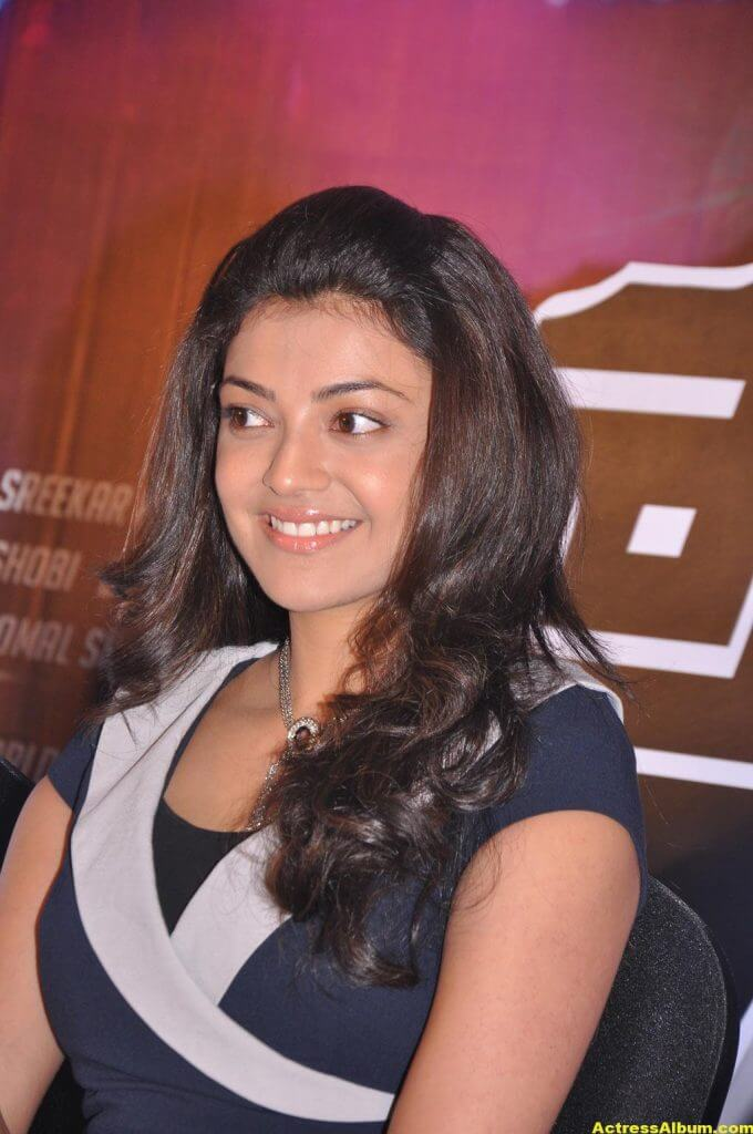 Kajal Aggarwal Smiling Face Photos In Blue Dress 7