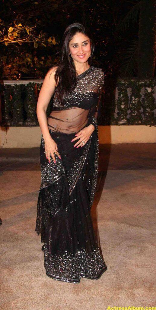 Kareena Kapoor Navel Show Stills In Black Saree