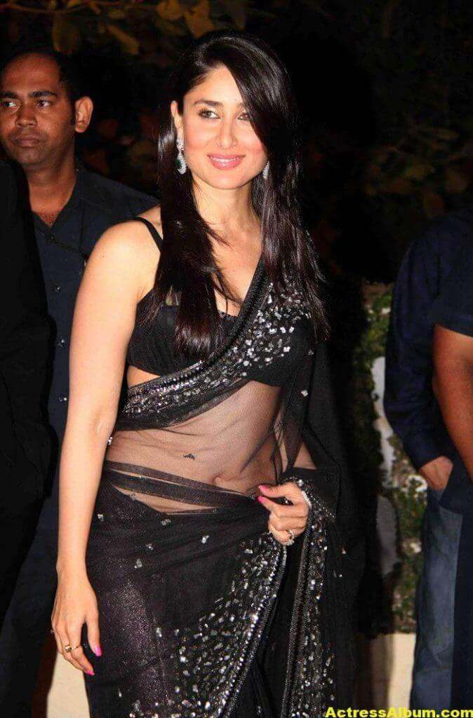 Kareena Kapoor Navel Show Stills In Black Saree 3