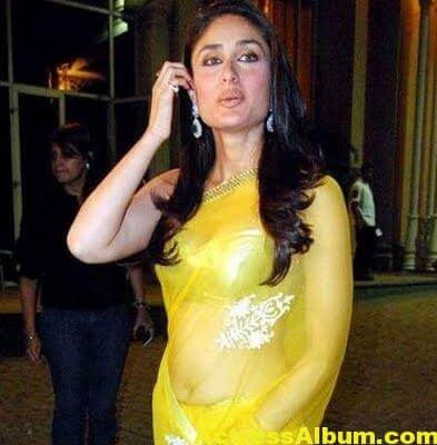 Kareena Kapoor Navel Show Stills In Yellow Saree 2