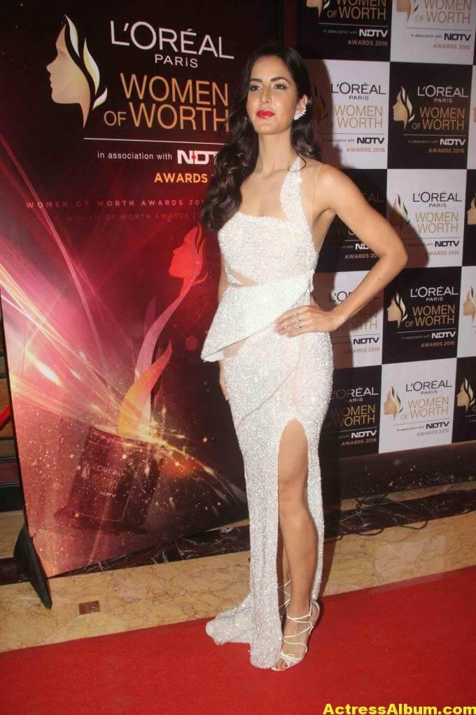 Katrina Kaif Hot Legs Photos In White Gown 1