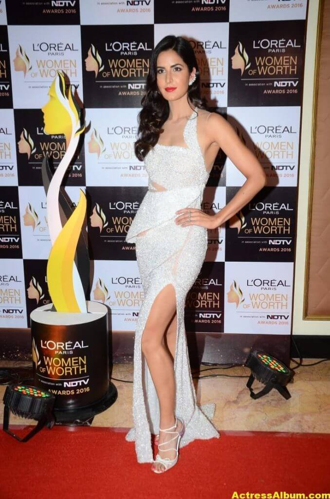 Katrina Kaif Hot Legs Photos In White Gown 4