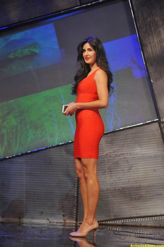 Katrina Kaif Thigh Show Stills In Orange Dress 2