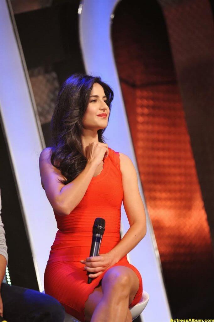 Katrina Kaif Thigh Show Stills In Orange Dress 3