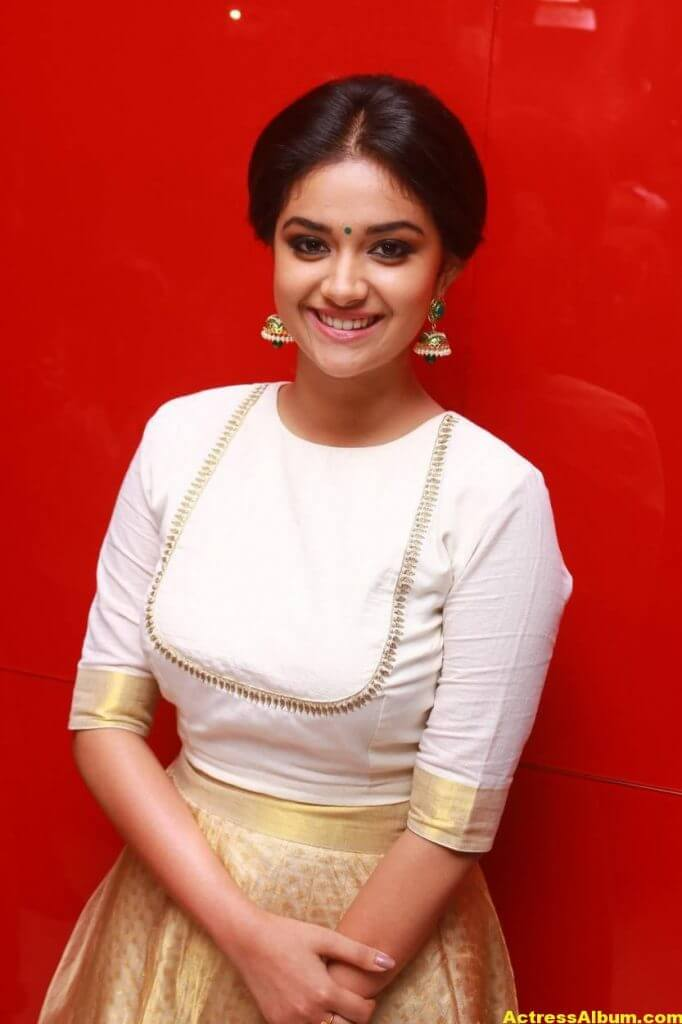 Keerthy Suresh Potos At Audio Launch White Dress 1