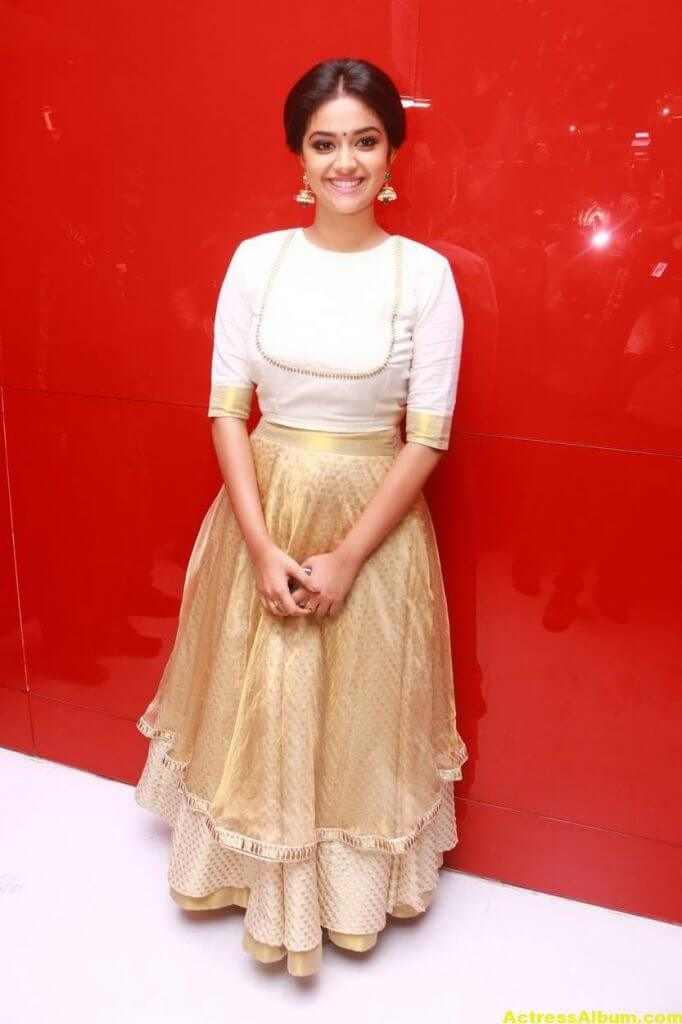 Keerthy Suresh Potos At Audio Launch White Dress 2