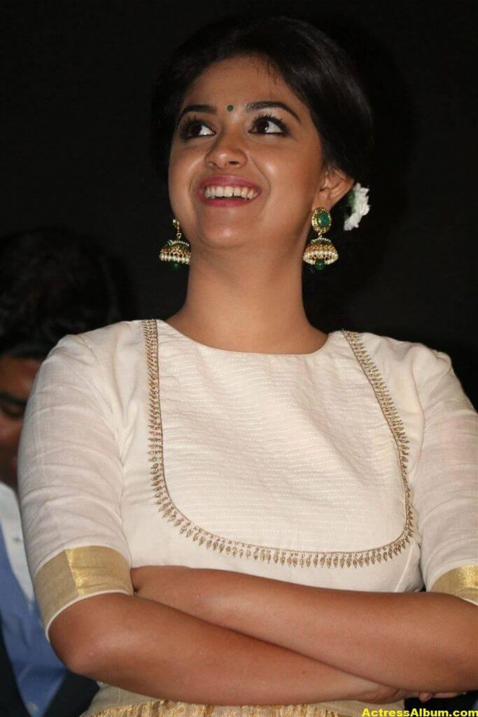 Keerthy Suresh Potos At Audio Launch White Dress 3