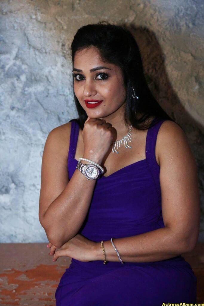 Madhavi Latha Hot Photos In Violet Dress