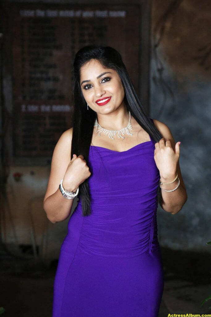 Madhavi Latha Hot Photos In Violet Dress 2