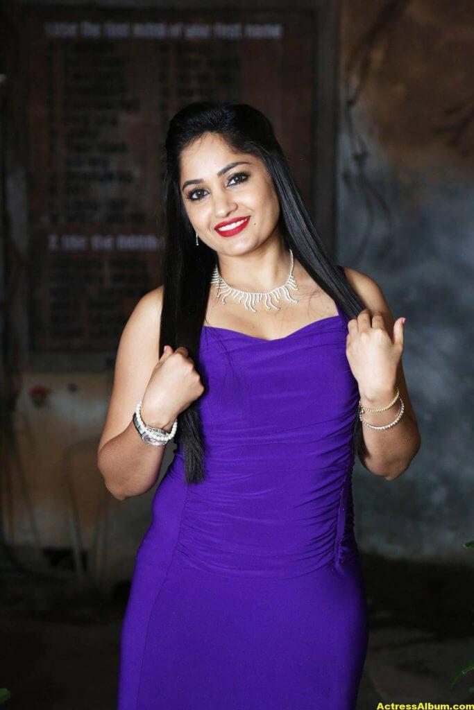 Madhavi Latha In Violet Dress