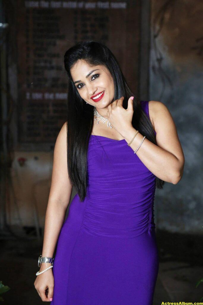 Madhavi Latha Hot Photos In Violet Dress 3
