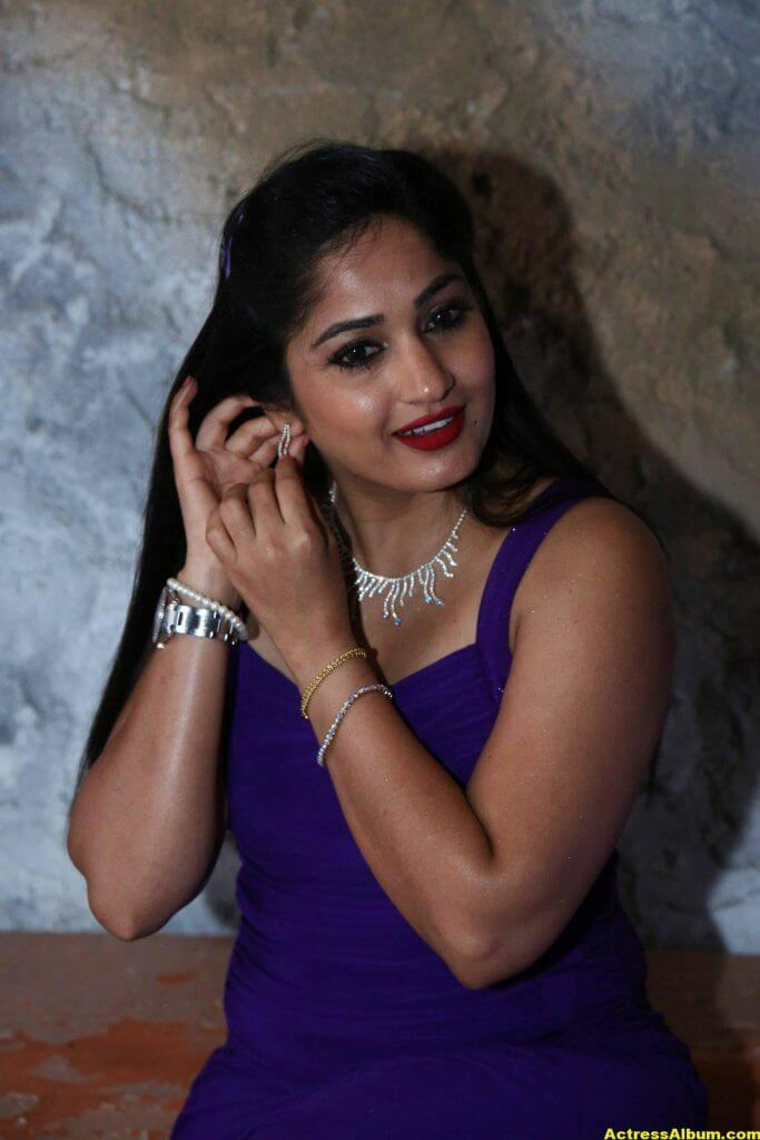 Madhavi Latha Hot Photos In Violet Dress 5