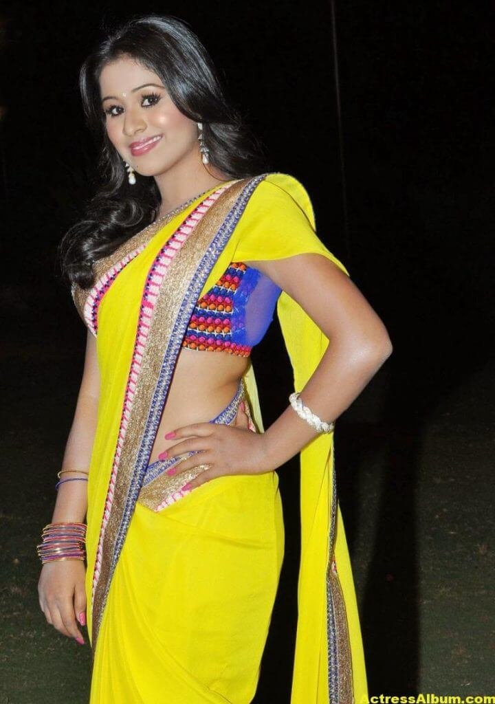 Manalee Hot Photos In Yellow Saree 2