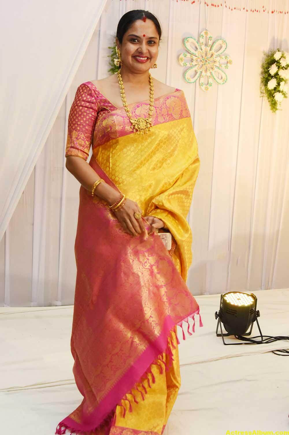 Movie Actress Pragathi Hot Photos In Yellow Saree