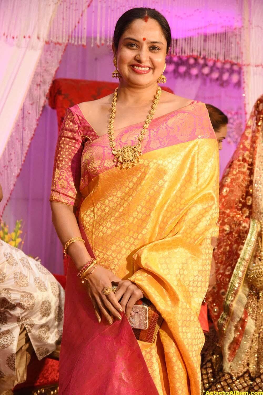 Pragathi In Yellow Saree