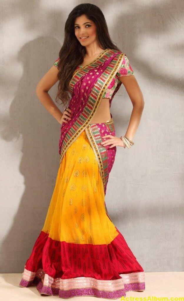Muktha Photoshoot In Yellow Half Saree 4