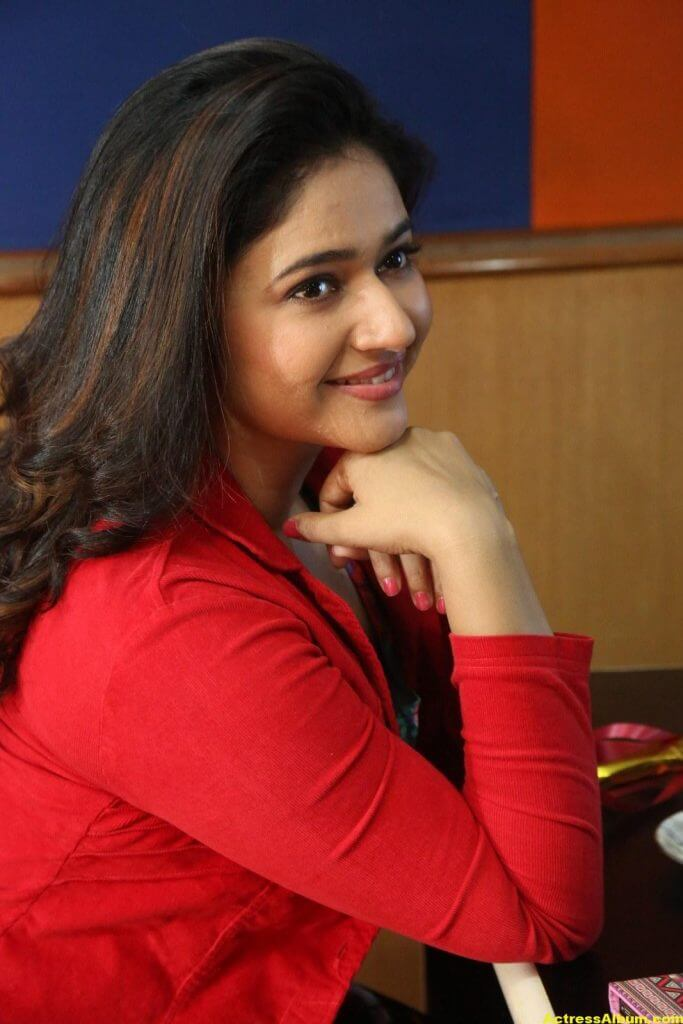 Poonam Bajwa Photos At Radio City In Red Dress 2