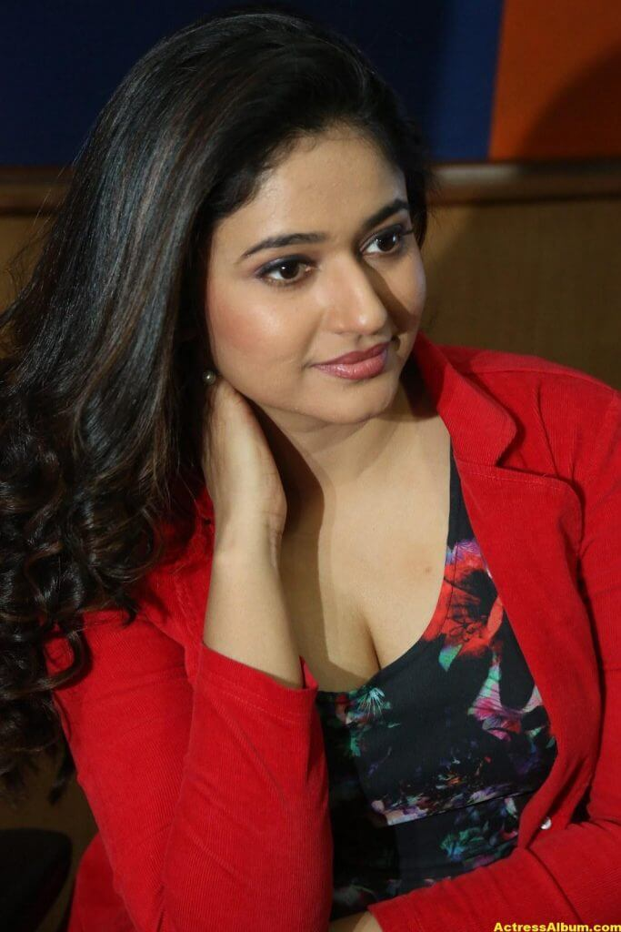 Poonam Bajwa Photos At Radio City In Red Dress 4
