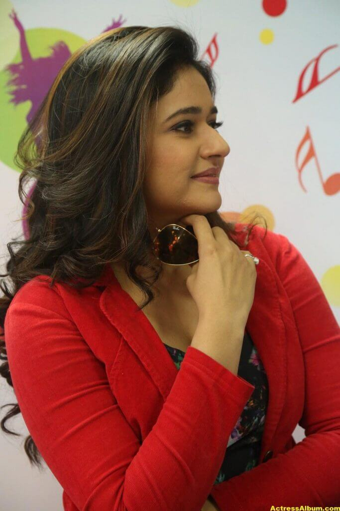 Poonam Bajwa Photos At Radio City In Red Dress 6