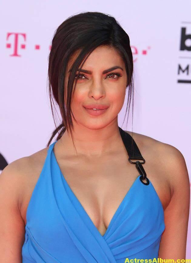 Priyanka Chopra At Music Awards In Blue Dress