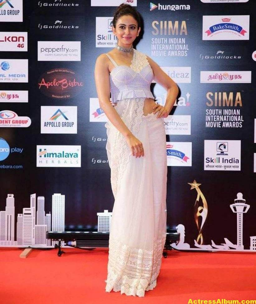 Rakul Preet Photos In White Dress At SIIMA Awards
