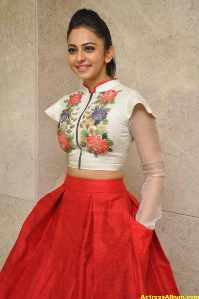 Rakul Preet Pics At Movie Success Meet In White Dress 0
