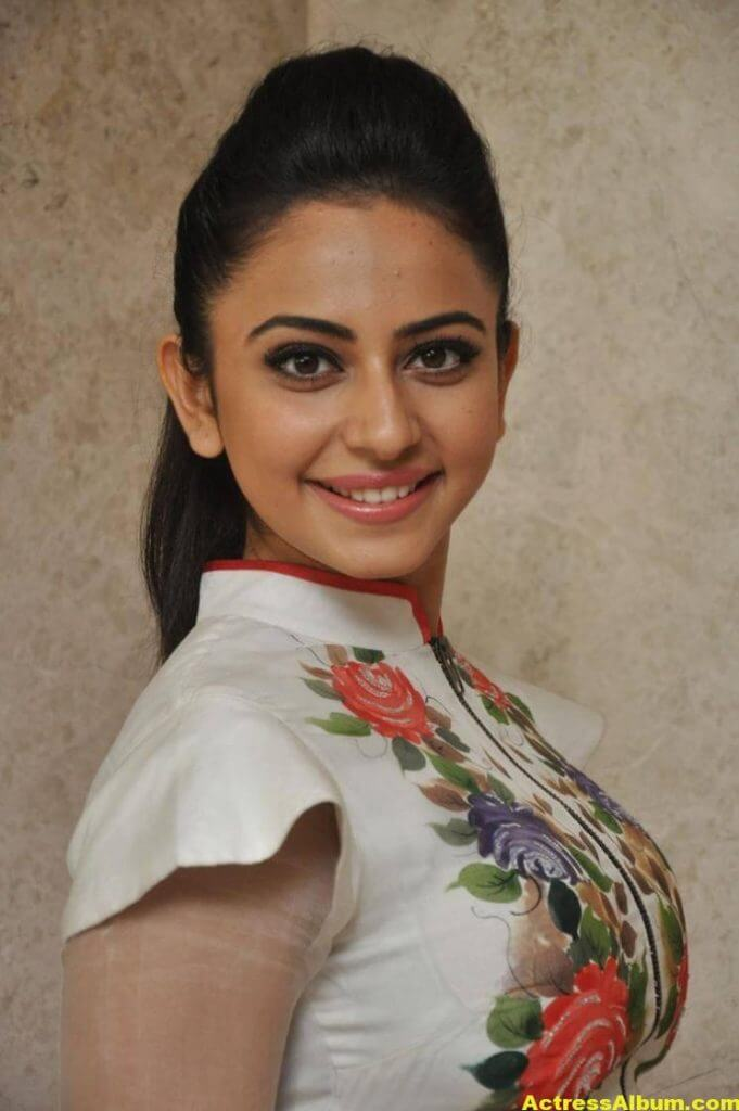 Rakul Preet Pics At Movie Success Meet In White Dress 1