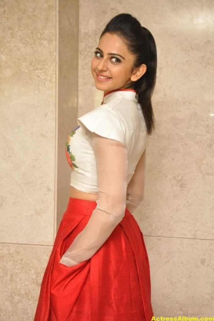 Rakul Preet Pics At Movie Success Meet In White Dress 3