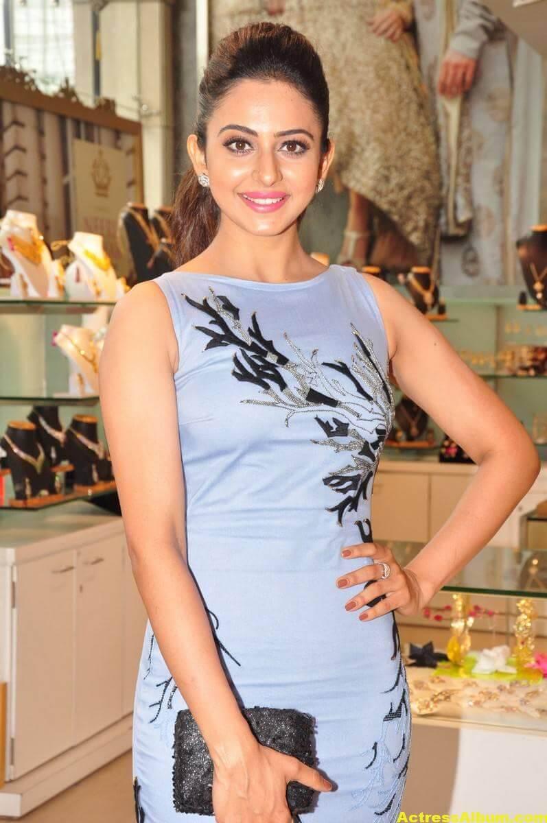 Rakul Preet Singh In Blue Dress Cute Photos