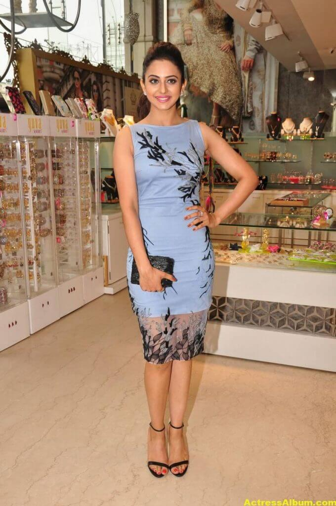 Rakul Preet Singh In Blue Dress Cute Photos 4