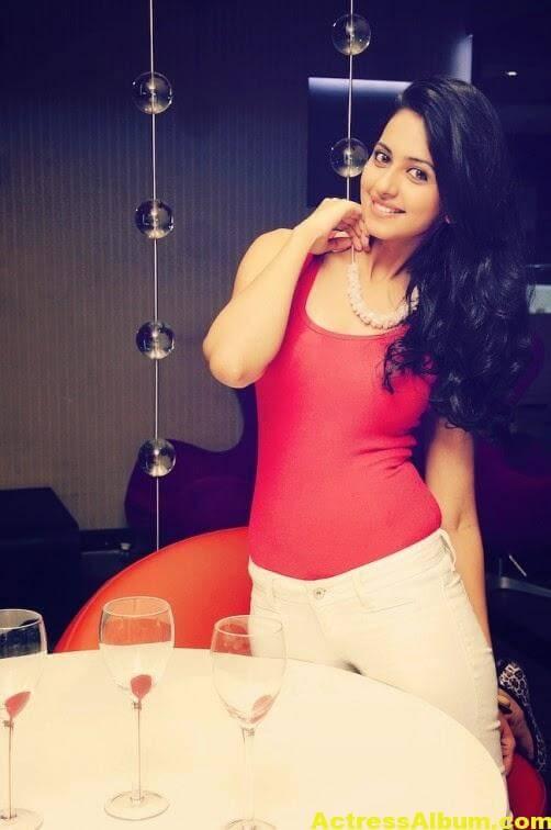 RAKUL PREET SINGH Stills In Red Dress 1