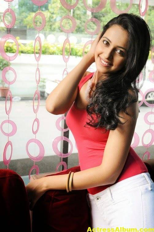 RAKUL PREET SINGH Stills In Red Dress 4