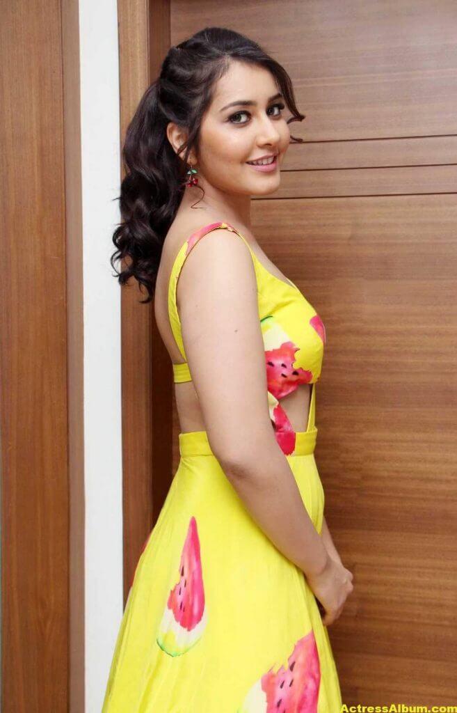 Rashi Khanna Ponytail Hair Stills yellow Dress 1