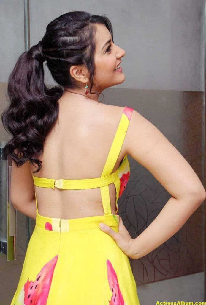 Rashi Khanna Ponytail Hair Stills yellow Dress 5