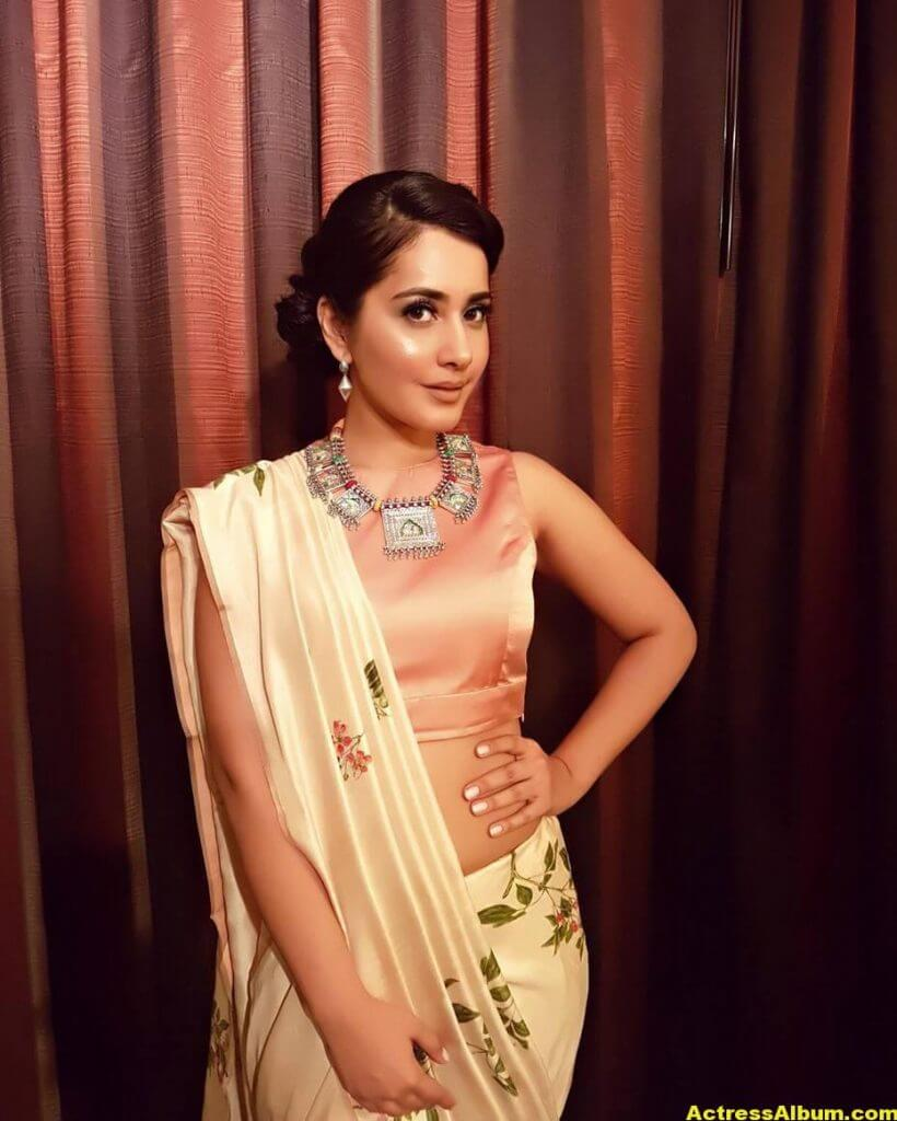 Rashi Khanna Stills In White Saree 1