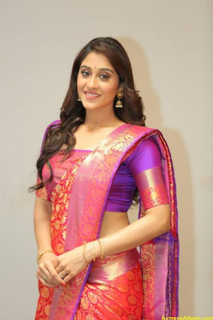 Regina Cassandra At Shopping Mall Launch In Red Saree 1