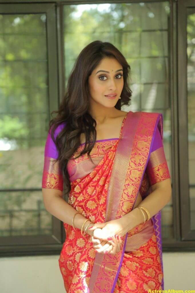 Regina Cassandra At Shopping Mall Launch In Red Saree 2